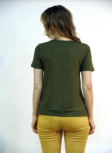 Optique Knitwear Yazı Baskılı Bisiklet Yaka Kısa Kol Penye Bluz Haki